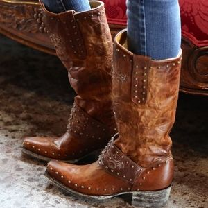 Old Gringo Krust Rust Brown Snip Toe Boots Studs 6